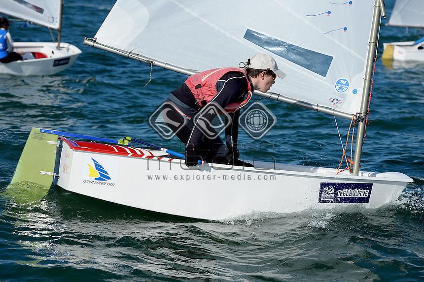 Optimist / Charlie HIAM (AUS)<br /> 2013 ISAF Sailing World Cup - Melbourne<br /> Sail Melbourne - The Asia Pacific Regatta<br /> Sandringham Yacht Club, Victoria<br /> December 1st - 8th 2013<br /> &copy; Sport the library / Jeff Crow