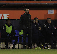 Luton Town manager Nathan Jones gives out the orders during the Sky Bet League 2 match between Luton Town and Yeovil Town at Kenilworth Road, Luton, England on 2 February 2016. Photo by Liam Smith.