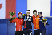 SPEED SKATING: CALGARY: Olympic Oval, 08-03-2015, ISU World Championships Allround, Podium 1500m Men, Sverre Lunde Pedersen (NOR), Denis Yuskov (RUS), Sven Kramer (NED), Bart Swings (BEL), ©foto Martin de Jong