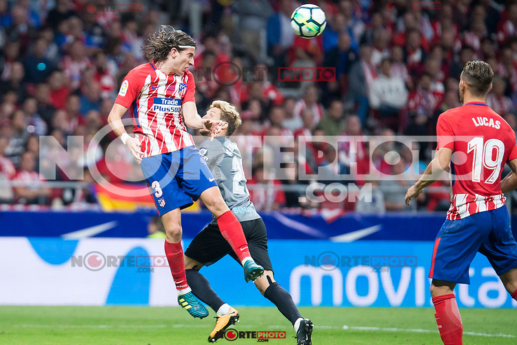 Atletico de Madrid's Filipe Luis and Malaga's Sergio 'Keko' Montan during La Liga match between Atletico de Madrid and Malaga CF at Wanda Metropolitano in Madrid, Spain September 16, 2017. (ALTERPHOTOS/Borja B.Hojas) /NortePhoto.com