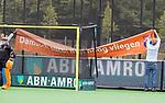 BLOEMENDAAL - spandoek  , 2e play out wedstrijd tussen Bloemendaal-HGC dames (2-0). COPYRIGHT KOEN SUYK