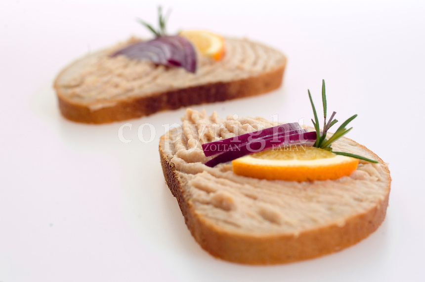 Bread with tuna cream, red onion and lemon against white background
