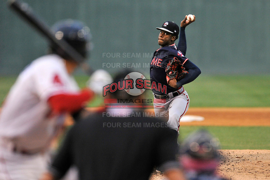 Starting pitcher Touki Toussaint (20) of the Rome Braves delivers a pitch in a game against the Greenville Drive on Thursday, September 1, 2016, at Fluor Field at the West End in Greenville, South Carolina. Rome won, 3-2. (Tom Priddy/Four Seam Images)