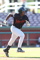 Marquez Smith #7 of the Bakersfield Blaze runs to first base during a game against the Inland Empire 66ers at San Manuel Stadium on August 21, 2014 in San Bernardino, California. Inland Empire defeated Bakersfield, 3-1. (Larry Goren/Four Seam Images)