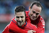 Osasuna's KIke Sola (l) and Patxi Punal celebrate goal during La Liga match.December 15,2012. (ALTERPHOTOS/Acero) /NortePhoto