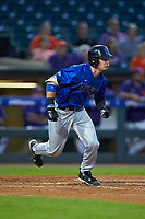 Griffin Conine (9) of the Duke Blue Devils starts down the first base line against the Clemson Tigers in Game Three of the 2017 ACC Baseball Championship at Louisville Slugger Field on May 23, 2017 in Louisville, Kentucky. The Blue Devils defeated the Tigers 6-3. (Brian Westerholt/Four Seam Images)