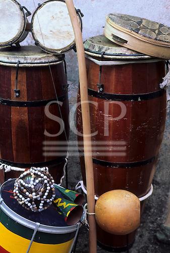 Salvador, Brazil. Drums, berimbaus, tambourine, rattles; Bahia State.