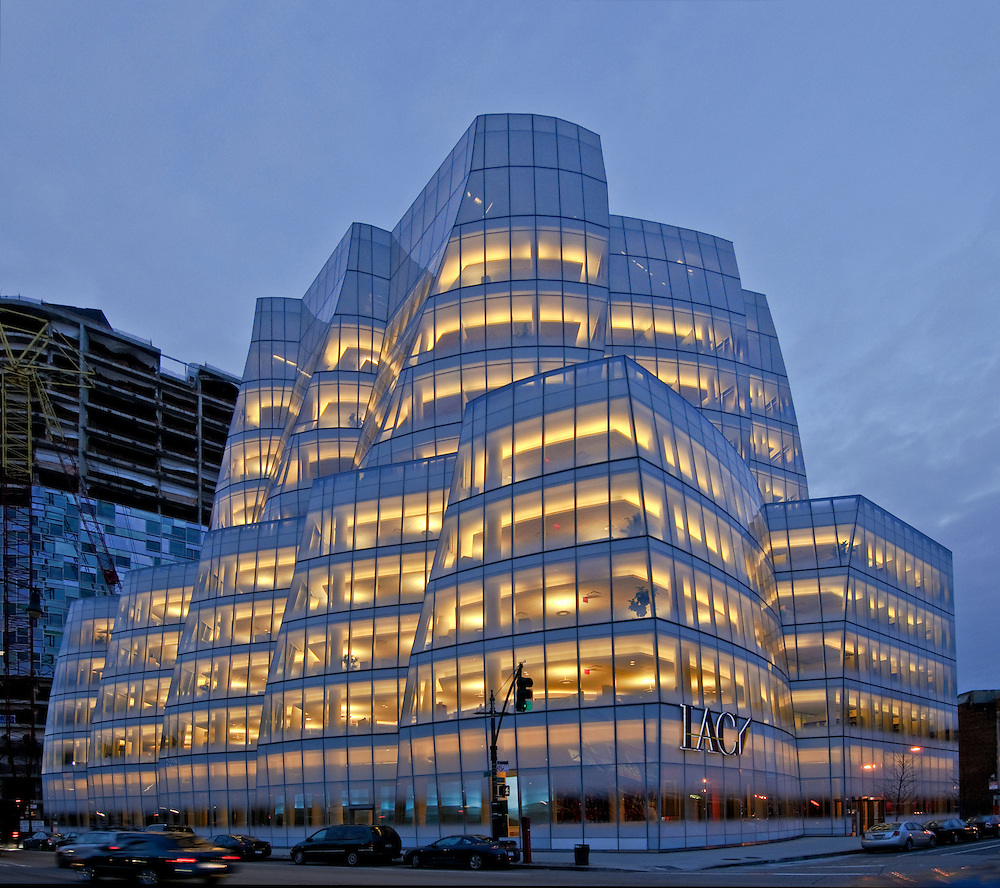 iac building  designed by frank gehry  manhattan  new york city  new york  usa  dusk  lobby