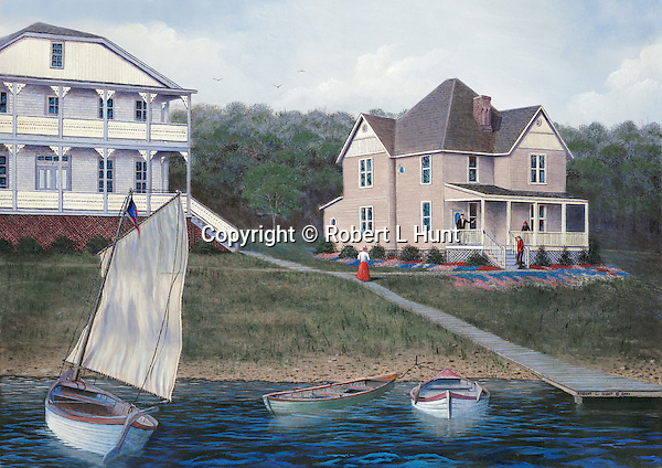 "Sailing on Lake Conemaugh by Victorian houses in the Spring 0f 1888 before the Johnstown Flood. Oil on canvas, 18"" x 26""; fine art lithographs also available."