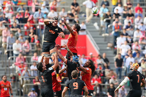 (L-R) Juan Cruz Guillemain (Jaguares), Hitoshi Ono (Sunwolves), <br /> APRIL 23, 2016 - Rugby : <br /> Super Rugby match between Sunwolves 36-28 Jaguares <br /> at Prince Chichibu Memorial Stadium in Tokyo, Japan. <br /> (Photo by Yohei Osada/AFLO SPORT)