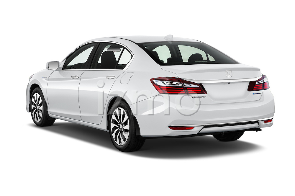 Car pictures of rear three quarter view of 2017 Honda Accord Hybrid 4 Door Sedan Angular Rear