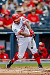 26 February 2019: Washington Nationals outfielder Howie Kendrick at bat during a Spring Training game against the St. Louis Cardinals at the Ballpark of the Palm Beaches in West Palm Beach, Florida. The Nationals fell to the visiting Cardinals 6-1 in Grapefruit League play. Mandatory Credit: Ed Wolfstein Photo *** RAW (NEF) Image File Available ***