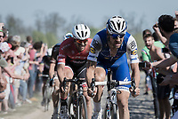 Tom Boonen (BEL/Quick-Step Floors) at the infamous Carrefour de l'Arbre sector followed closely by John Degenkolb (DEU/Trek-Segafredo)<br /> <br /> 115th Paris-Roubaix 2017 (1.UWT)<br /> One Day Race: Compiègne › Roubaix (257km)