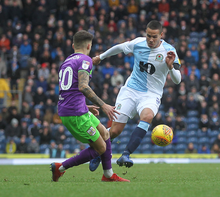 Blackburn Rovers Jack Rodwell in action with Bristol City's Jamie Paterson<br /> <br /> Photographer Mick Walker/CameraSport<br /> <br /> The EFL Sky Bet Championship - Blackburn Rovers v Bristol City - Saturday 9th February 2019 - Ewood Park - Blackburn<br /> <br /> World Copyright &copy; 2019 CameraSport. All rights reserved. 43 Linden Ave. Countesthorpe. Leicester. England. LE8 5PG - Tel: +44 (0) 116 277 4147 - admin@camerasport.com - www.camerasport.com