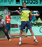 Paul Henri Mathieu (FRA)  battles at Roland Garros in Paris, France on May 31, 2012