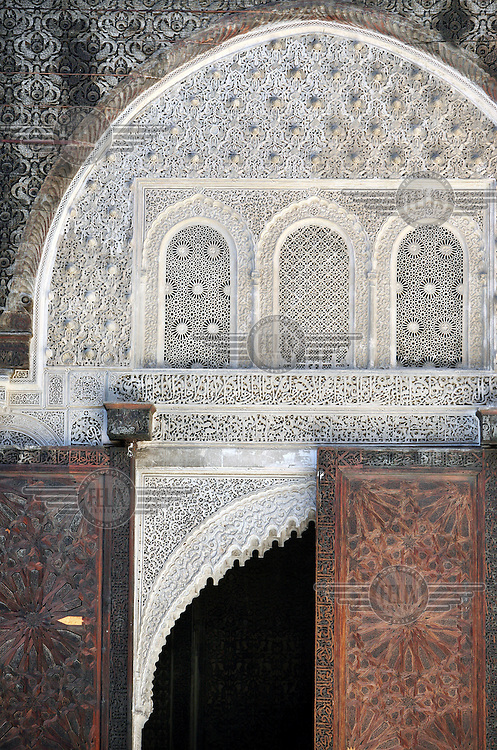 Detail of a doorway in the Madrasa Bou Inania, which was constructed between 1350 and 1355 by the Sultan Abu Inan Faris during the reign of the Marinid dynasty. The madrassah is considered the finest example of Marinid architecture in existence.