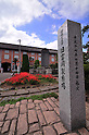 """April 28, 2014, Tomioka, Japan - """"Former Tomioka Silk Mill"""" says the gate post at the site of an old silk mill n Tomioka, Gunma Prefecture, some 90 km northwest of Tokyo, in this September 16, 2012, file photo. The Tomioka Silk Mill and related sites has been recommended for World Heritage status, the Cultural Affairs Agency announced on April 26, 2014. The mill was built in 1872 under the Meiji government sponsorship by Paul Brunat, a French engineer with bricks and woods, a unique feature that made them last to this day. The state-run mill continuously operated for 115 years, producing high-quakity raw silk. (Photo by AFLO)"""