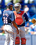 17 March 2007: Washington Nationals catcher Brian Schneider converses with pitcher Jerome Williams  during a game against the New York Mets at Tradition Field in Port St. Lucie, Florida...Mandatory Photo Credit: Ed Wolfstein Photo