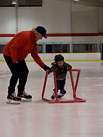 Steve Hicken, of Sarnia with his two-year-old grandson Keaton a.k.a.&quot;Buster&quot; Garvin.<br /> <br /> Hicken said he played a lot of local hockey when he was young including pick-up hockey and some travel as well. <br /> <br /> &quot;I have four grandchildren, three of them girls who don't like hockey,&quot;&nbsp;he said &quot; It's really important to me and Keaton seems to like skating.&quot;