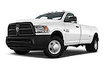 Stock pictures of low aggressive front three quarter view of 2016 Ram Ram-3500-Pickup Tradesman-Regular-cab 4 Door Pick-up Low Aggressive