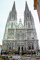 Regensburg: St. Peter's Cathedral, 13th-14th C.; spires--14th C. Gothic style. Photo '87.
