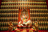 Wall of Gold Statues at the Buddha Tooth Relic Museum in Chinatown, Singapore. The Buddha Tooth Relic Temple is an enormous Buddhist temple and museum based in Chinatown. As well as the famous Buddhas tooth perched on a stupa made of 320kg of gold, it also houses many other relics and is a popular stop for tourists visiting Singapore.
