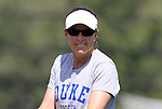 11 September 2011: Duke assistant coach Carla Overbeck. The Duke University Blue Devils defeated the University of North Carolina at Greensboro Spartans 2-0 at Koskinen Stadium in Durham, North Carolina in an NCAA Division I Women's Soccer game.