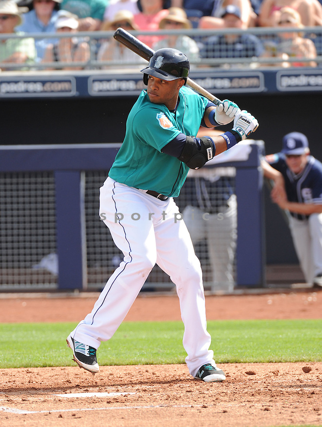 Seattle Mariners Robinson Cano (22) during a preseason game against the San Diego Padres on March 2, 2016 at the Peoria Sports Complex in Peoria, AZ. The Mariners beat the Padres 6-5.