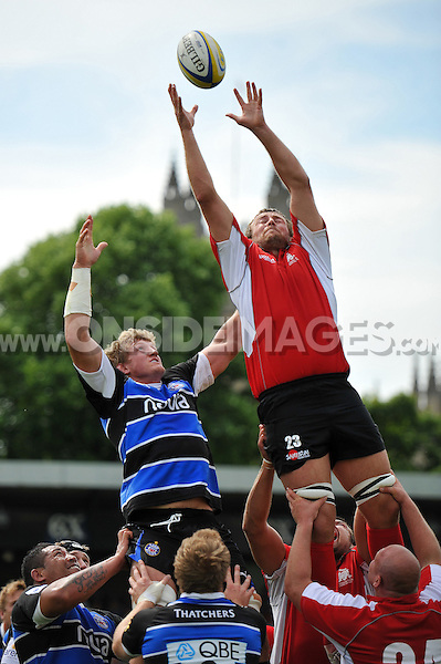 Jonathan Mills looks to win lineout ball. Pre-season friendly match, between Bath Rugby and London Welsh on August 11, 2012 at the Recreation Ground in Bath, England. Photo by: Patrick Khachfe / Onside Images