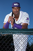 Winston-Salem Dash outfielder Eloy Jimenez (27) poses for a photo prior to the game against the Potomac Nationals at BB&T Ballpark on August 5, 2017 in Winston-Salem, North Carolina.  The Dash defeated the Nationals 6-0.  (Brian Westerholt/Four Seam Images)