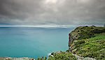 A stormy seascape from the summit of The Nut in Stanley Tasmania, Australia.