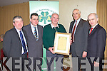 PRESENTATION: James Doyle, Beaufort Honorary Life Membership to the IFA at the Kerry IFA annual general meeting at the Manor West, Tralee on Monday l-r: Kenny Jones (secretary), James McCarthy (chairman), James Boyle, Matt Dempsey (editor of the Farmers Journal) and Eddie Downey (IFA deputy president).