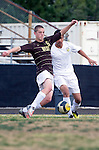 Palos Verdes, CA 01/22/13 - Erik Le (Peninsula #16) and Ian Melnyk  (West Torrance #5) in action during the West vs Peninsula boys varsity soccer game at Peninsula High School.