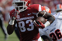 NWA Democrat-Gazette/ANDY SHUPE<br /> Arkansas' Jeremy Sprinkle carries the ball down the sideline past University of Texas at El Paso's Nick Usher Saturday, Sept. 5, 2015, during the third quarter of play in Razorback Stadium in Fayetteville. Visit nwadg.com/photos to see more from the game.