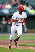 Peoria Chiefs outfielder Ronald Castillo (47) runs to first during a game against the Kane County Cougars on June 2, 2014 at Dozer Park in Peoria, Illinois.  Peoria defeated Kane County 5-3.  (Mike Janes/Four Seam Images)
