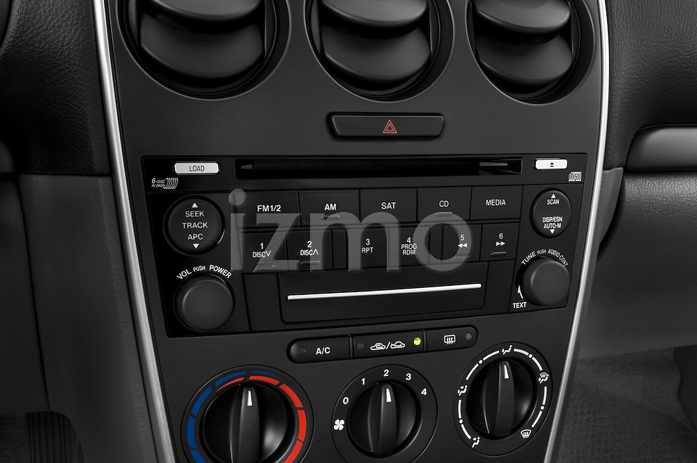 Stereo audio system close up detail view of a 2008 Mazda 6 Sport Sedan