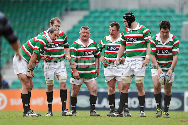 Tigers Legends players take a breather during a break in play. Leicester Tigers Legends Match, between Louis Deacon's Tigers Legends and the Matt Hampson's International Legends on April 21, 2013 at Welford Road in Leicester, England. Photo by: Patrick Khachfe / Onside Images