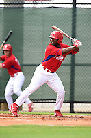 GCL Phillies outfielder Everett Williams at bat during a game against the GCL Pirates on June 26, 2014 at the Carpenter Complex in Clearwater, Florida.  GCL Phillies defeated the GCL Pirates 6-2.  (Mike Janes/Four Seam Images)