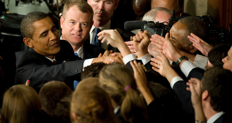 President Barack Obama greets pages after his health care joint address to Congress on September  9, 2009 in the U.S. Capitol..