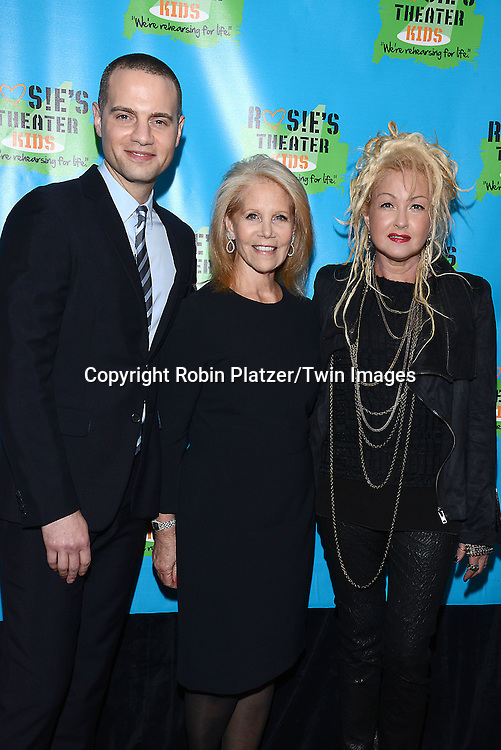 Jordan Roth, Daryl Roth  and Cyndi Lauper attend Rosie O'Donnell's 11th Annual Rosie's Theater Kids Gala on September 22, 2014 at The New York Marriott Marquis in New York City. <br /> <br /> photo by Robin Platzer/Twin Images<br />  <br /> phone number 212-935-0770