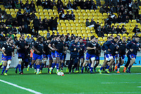 France warms up for the Steinlager Series international rugby match between the New Zealand All Blacks and France at Westpac Stadium in Wellington, New Zealand on Saturday, 16 June 2018. Photo: Dave Lintott / lintottphoto.co.nz