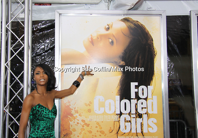 """All My Children's Yaya DaCosta """"Cassandra"""" attending The New York Special Screening of Tyler Perry's next film """"For Colored Girls"""" on October 25, 2010 at the Ziegfield Theater, New York City, New York. (Photo by Sue Coflin/Max Photos)"""