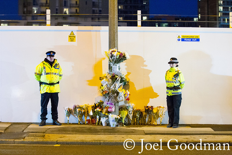 © Joel Goodman - 07973 332324 . 02/01/2012 . Salford , UK . A candlelit vigil is held at the scene of the murder of Anuj Bidve on Ordsall Lane . Bidve was shot and killed by Kiaran Stapleton on 26 December 2011 . Photo credit: Joel Goodman