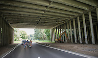 race leaders under a bridge<br /> <br /> Brussels Cycling Classic 2016