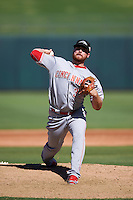 Peoria Javelinas pitcher Barrett Astin (35), of the Cincinnati Reds organization, during a game against the Surprise Saguaros on October 20, 2016 at Surprise Stadium in Surprise, Arizona.  Peoria defeated Surprise 6-4.  (Mike Janes/Four Seam Images)