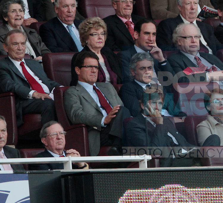 Englands Fabio Capello watches from the stands