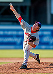 16 July 2017: Auburn Doubledays pitcher Kyle Johnston on the mound against the Vermont Lake Monsters at Centennial Field in Burlington, Vermont. The Monsters defeated the Doubledays 6-3 in NY Penn League action. Mandatory Credit: Ed Wolfstein Photo *** RAW (NEF) Image File Available ***