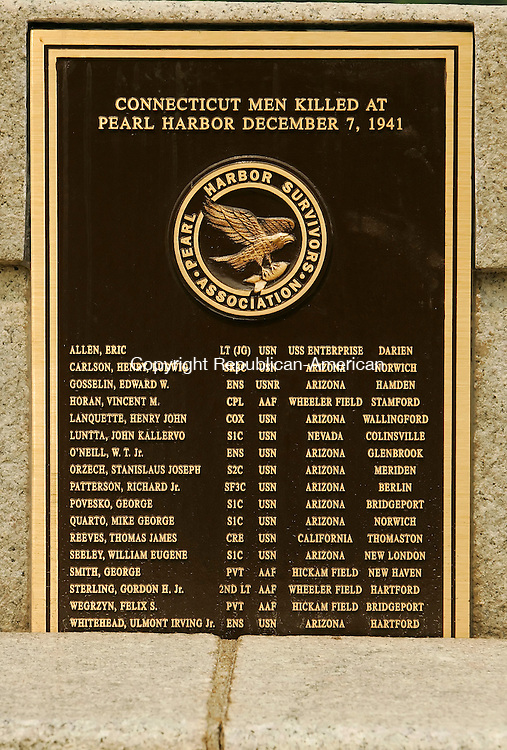 WATERBURY, CT - 14 AUGUST 2005 -081405JS03--A plaque in memory of the 17 Connecticut men killed at Pearl Harbor was unveiled Sunday during a dedication ceremony on the Pearl Harbor bridge on Freight Street in Waterbury.    --Jim Shannon Photo-- CQ
