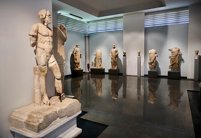 Interior of Aphrodisias Museum showing Roman statues from the archaeological site of Aphrodisias, , Aphrodisias, Turkey.