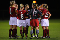 14 September 2007: Stanford Cardinal Allison Falk, Rachel Buehler, Marisa Abegg, Alicia Jenkins, Allison McCann, Christen Press, Kelley Birch, and Erica Holland during Stanford's 3-2 win in the Stanford Invitational against the Missouri Tigers at Maloney Field in Stanford, CA.